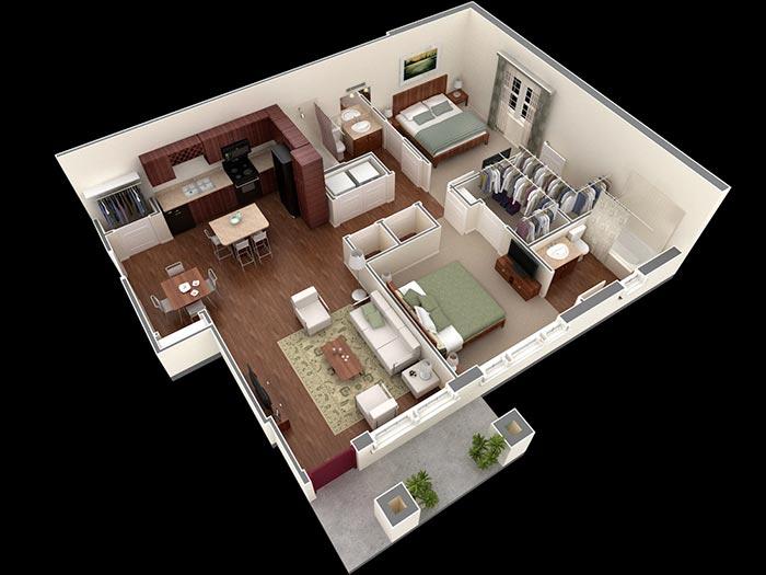 2 yatak villa planı