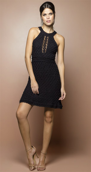 Vanessa Montoro vestido artesanal curto preto