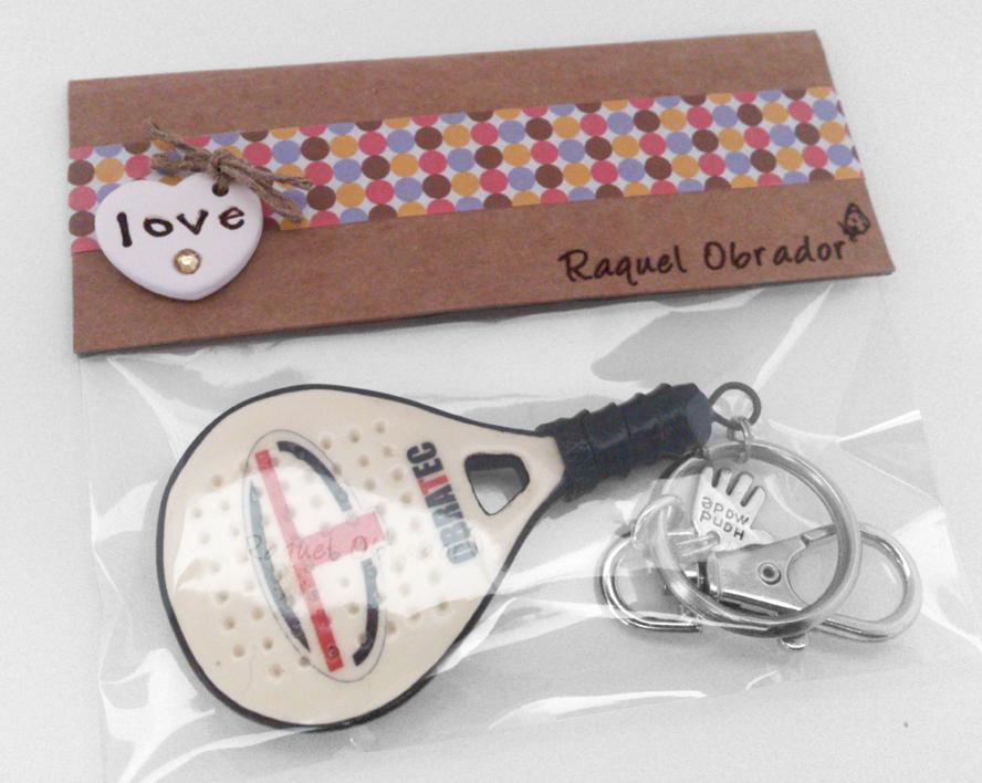 packaging pala de padel de arcilla polimérica, llavero