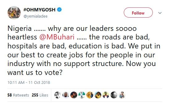 """""""Why Are Our Leaders So Heratless"""" – Yemi Alade To Buhari"""