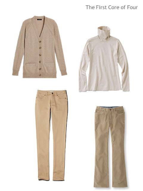 four garments in light brown and cream, to make two outfits
