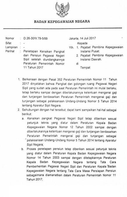 Surat Edaran Kepala BKN No D-26-30/V/99  img