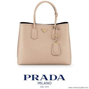 Crown Princess Mary carried Prada Saffiano Cuir Double Bag