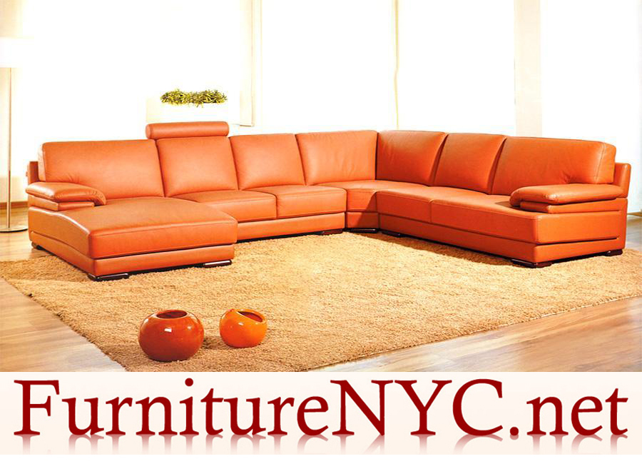Contemporary Orange Sectional Sofa 2227