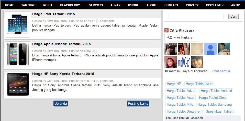 Screenshot Laman Beranda