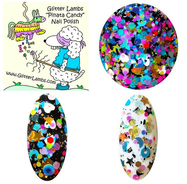 Custom Handmade Lacquer Shapes, Stars, Hearts, Moons, Holographic, Hex, Dots, Donuts Indie