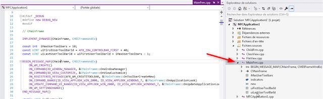 Main Frame de l'application MFC C++