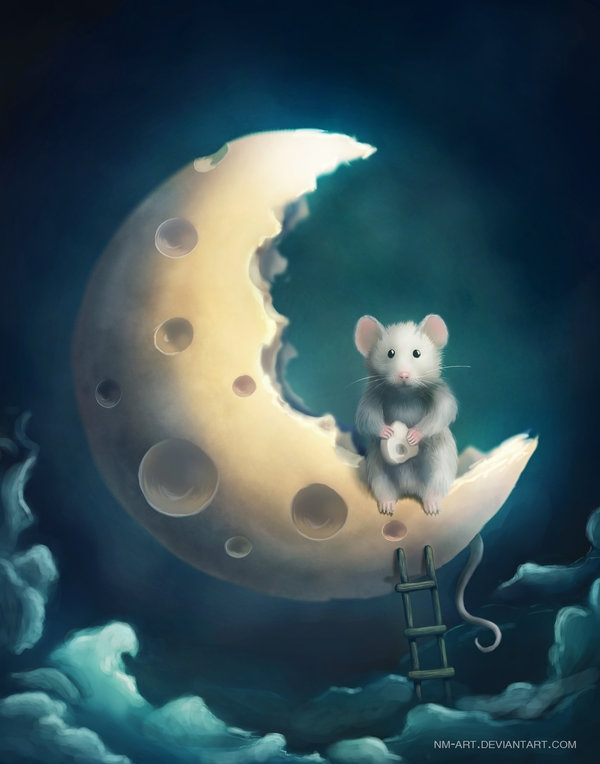 06-Lunar-Mouse-Sylar113-A Mixture-of-Surrealism-and-Fantasy-Digital-Art-www-designstack-co