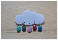 broche nuage et gouttes turquoise gris bleu violet