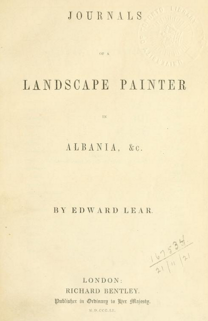 Journals of a landscape painter in Albania (1851)