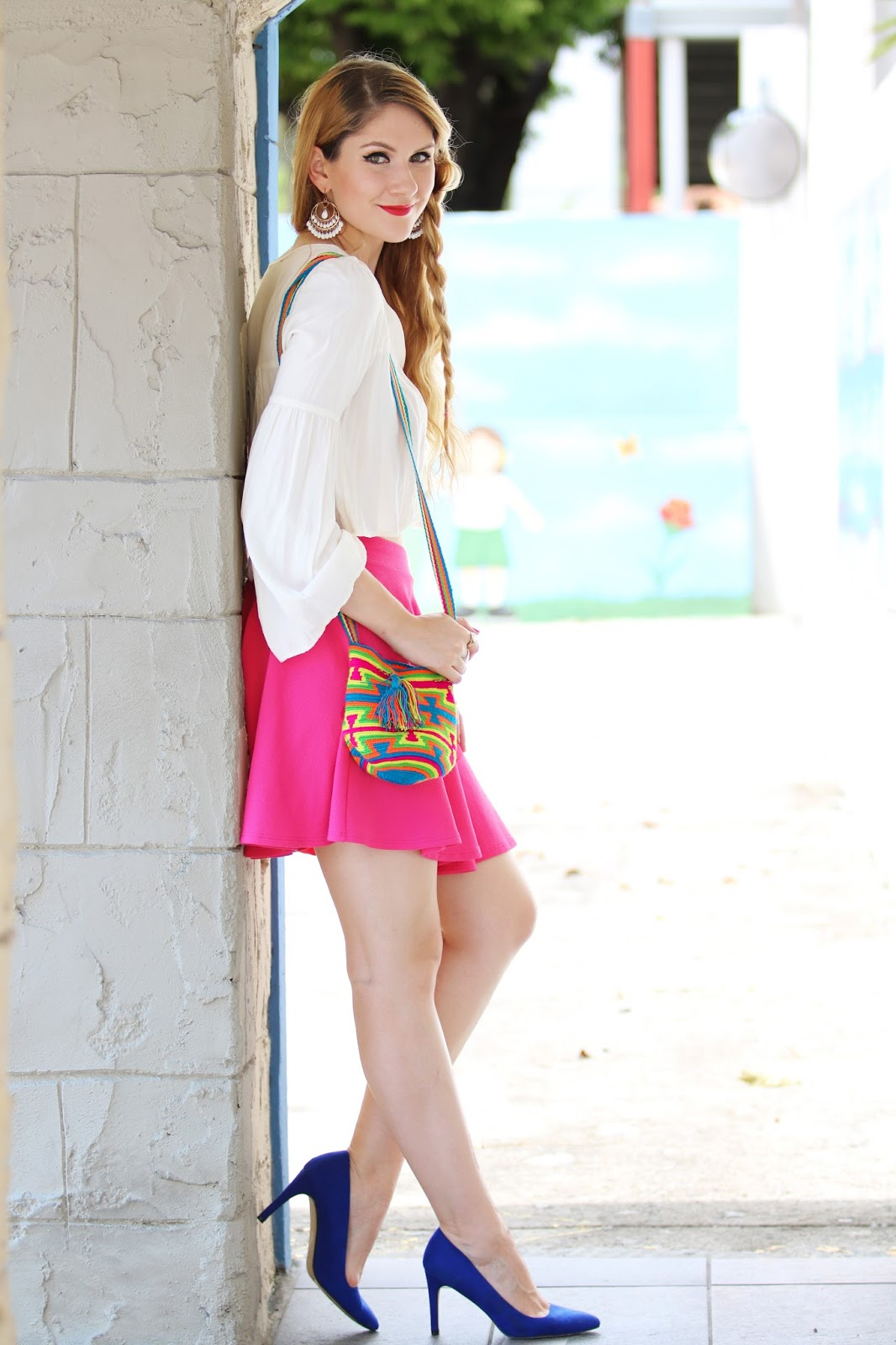 Pretty pink skirt outfit