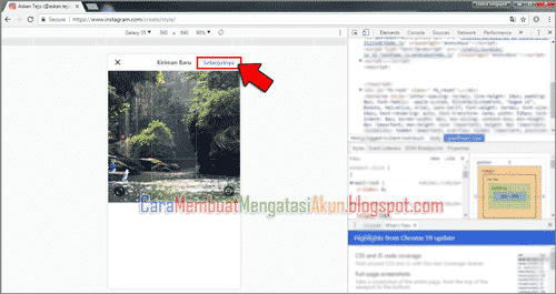 cara posting foto di instagram via pc tanpa software