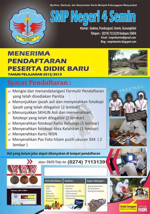 Spanduk Poster Dan Brosur Ppdb 2012 Smpn 4 Semin
