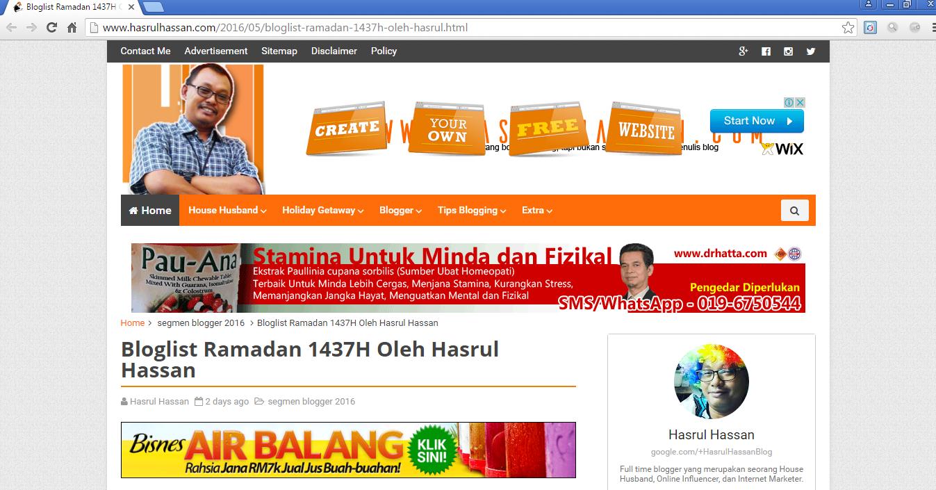 Kenapa Saya Suka Dimasukkan Ke Dalam Bloglist Ramadan 1437H Oleh Hasrul Hassan?
