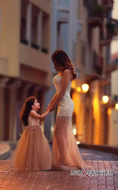Beautiful Beadings Sheer Skirt 2019 Prom Dress Sweetheart Sleeveless Mother and Daughter Dress