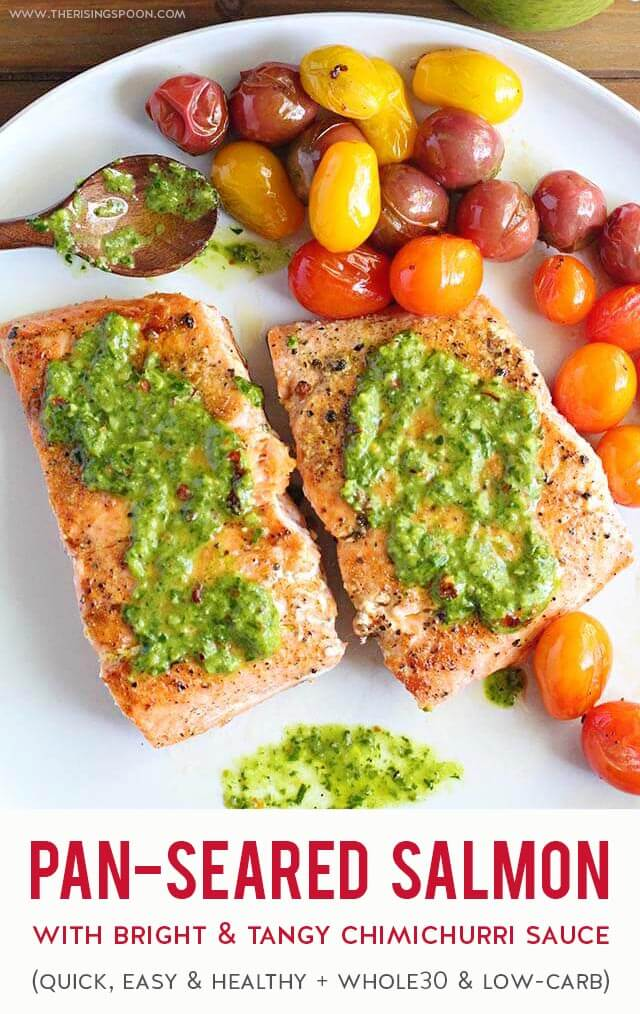 A quick & easy stovetop recipe for pan-seared salmon fillets topped with a bright & tangy chimichurri sauce. Fix the herb-packed sauce & fish in about 20 minutes start to finish for a delicious and healthy meal any night of the week. (gluten-free, paleo & whole30)