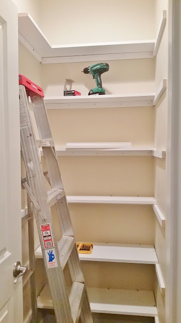 pantry makeover DIY installing wood shelving