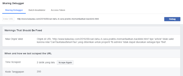 kalautau.com - Solusi Error Thumbnail Share Post Facebook dengan Sharing Debugger