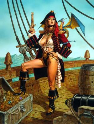Fantasy pirate woman casually