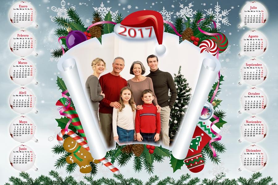 Calendarios para Photoshop Calendario del 2017 de Navidad para