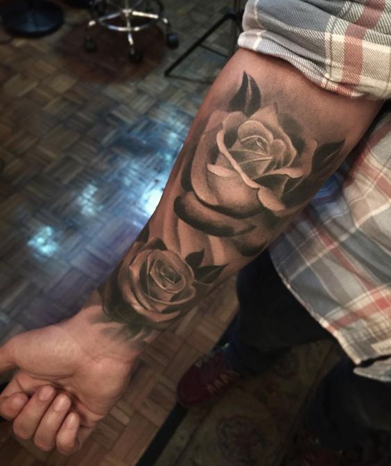 16 best rose tattoos designs for men amazing tattoos. Black Bedroom Furniture Sets. Home Design Ideas