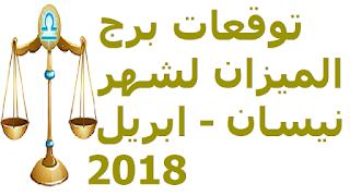 توقعات برج الميزان لشهر نيسان - ابريل 2018