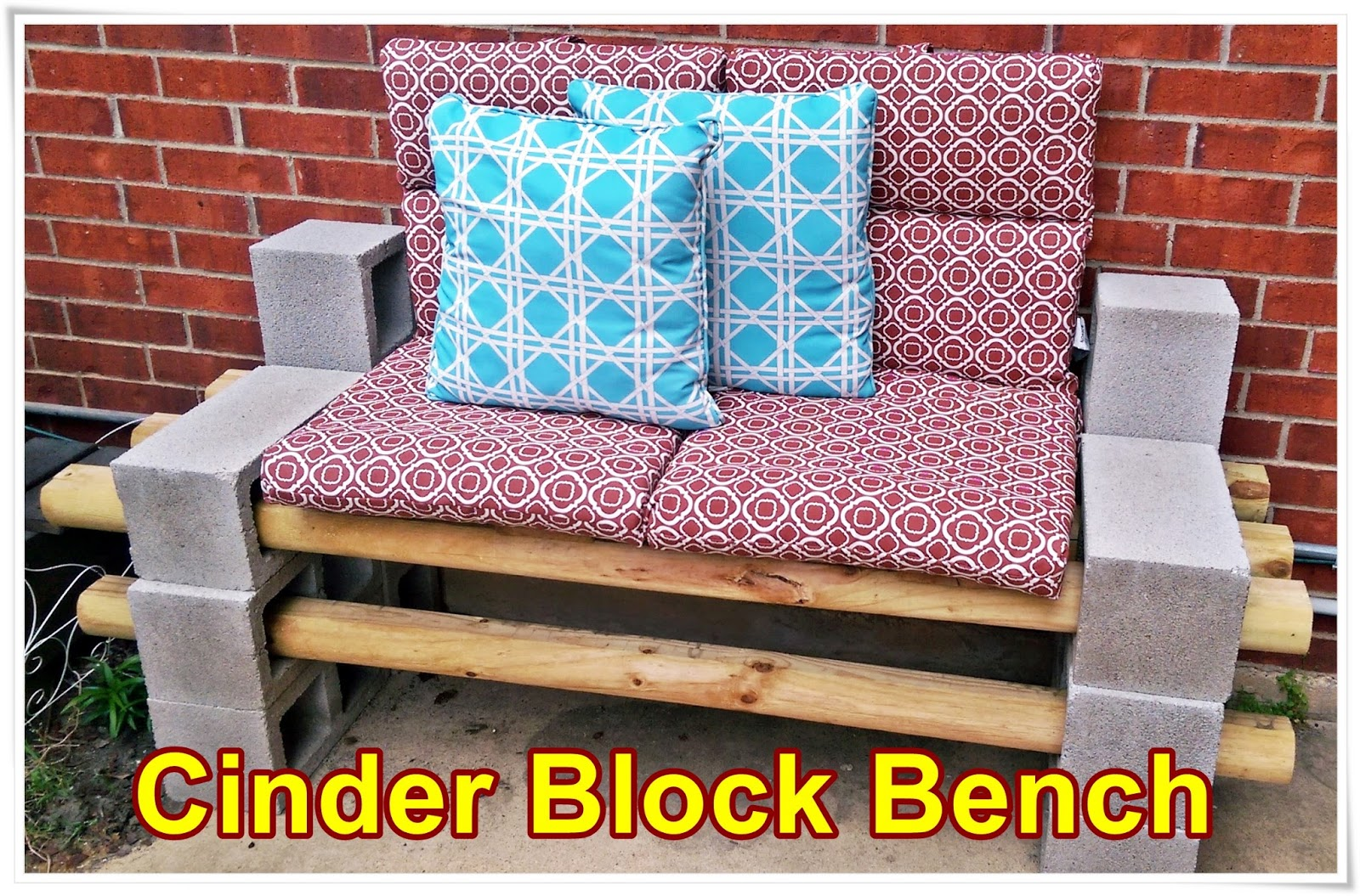 meg made creations cinder block bench do it yourself outdoor seating. Black Bedroom Furniture Sets. Home Design Ideas