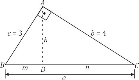 Exemplo 1 - Triângulo retângulo - relações métricas - semelhanças