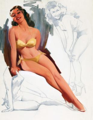 http://randar.com/post/161989165385/brunette-in-yellow-bikini-with-two-figure-studies