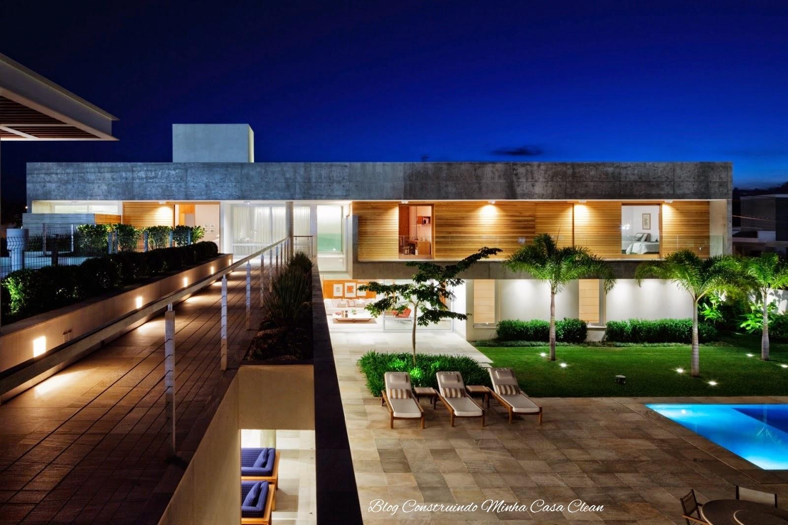 Construindo minha casa clean fachadas de casas modernas for Fachadas de casas modernas iluminadas