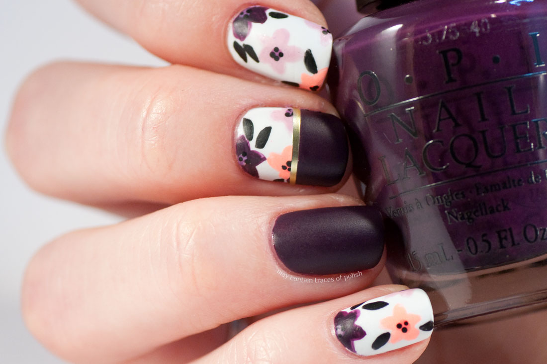 Dark matte flower nail art