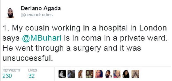 Buhari is in coma - Man claims he saw Nigerian leader in hospital