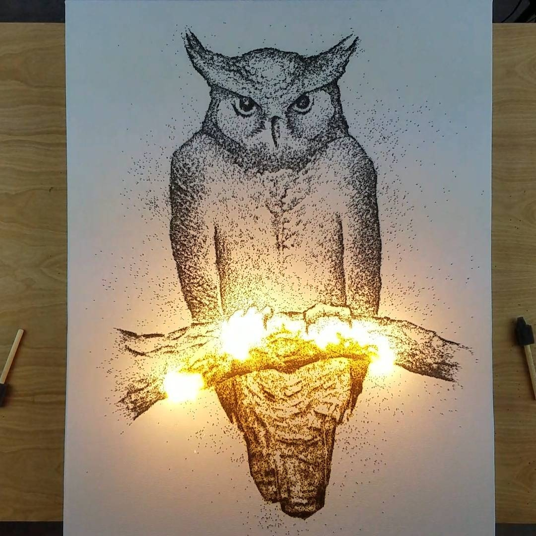 06-Owl-Danny-Sherving-Paint-with-Gunpowder-and-then-set-it-on-Fire-www-designstack-co