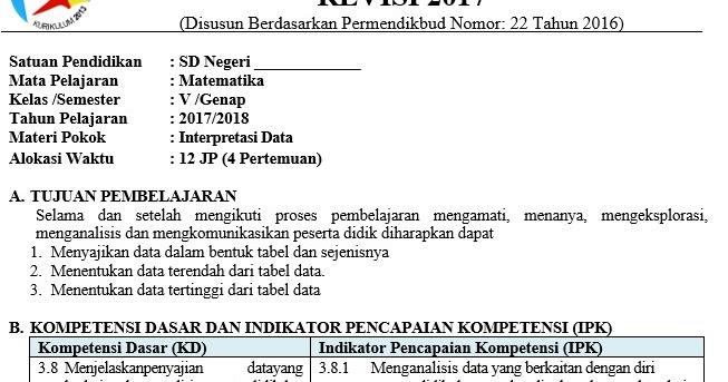 RPP Matematika Kelas 5 Semester 2 Kurikulum 2013 Revisi ...