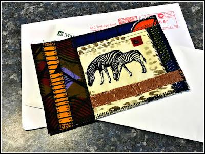 April 15, 2019 Getting Happy Mail a textile postcard.