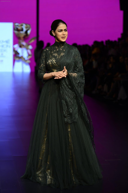 Genelia D'Souza  in Black Long Gown at Walks the Ramp for Shantanu and Nikhil Show