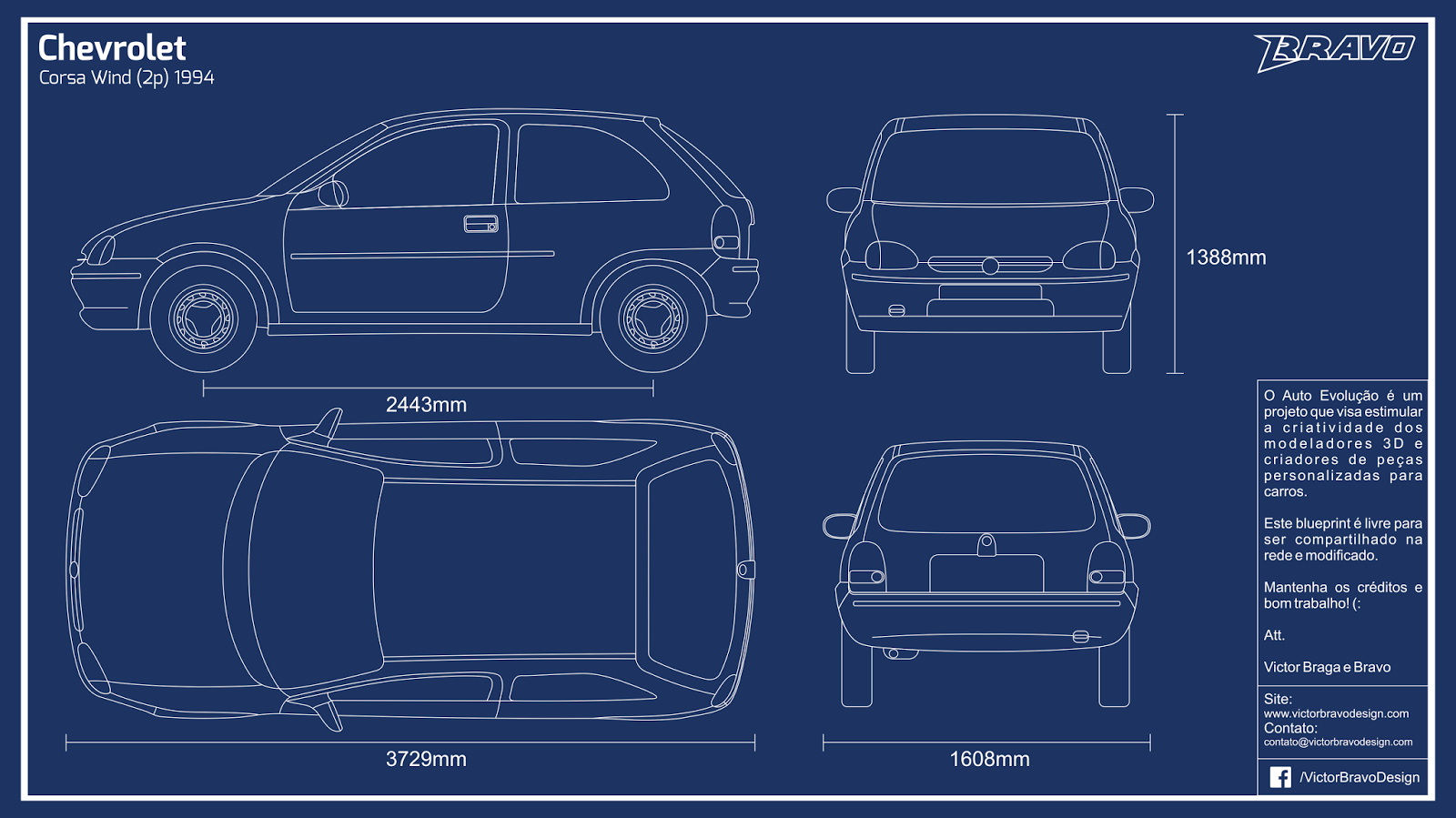Imagem do blueprint do Chevrolet Corsa Wind (2p) 1994