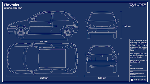 Imagem do blueprint do Chevrolet Corsa Wind (2p) 1994