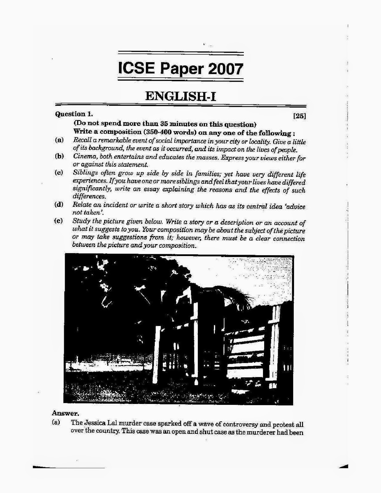 Icse class 10th 2007 English Language solved question paper 2007