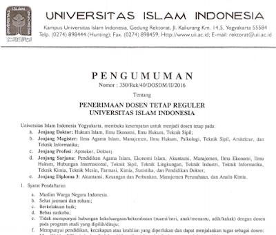 Lowongan Dosen Tetap UII Yogyakarta 2016