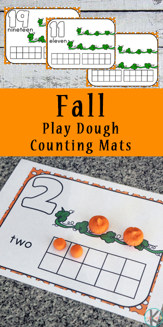 Although playing with playdough is fun, these fall themed, pumpkin playdough mats. These free playdough mats help improve fine motor skills and practice counting to 20. These number mats are a great way to practice counting from one to twenty with toddler, preschool, pre k, kindergarten age students.