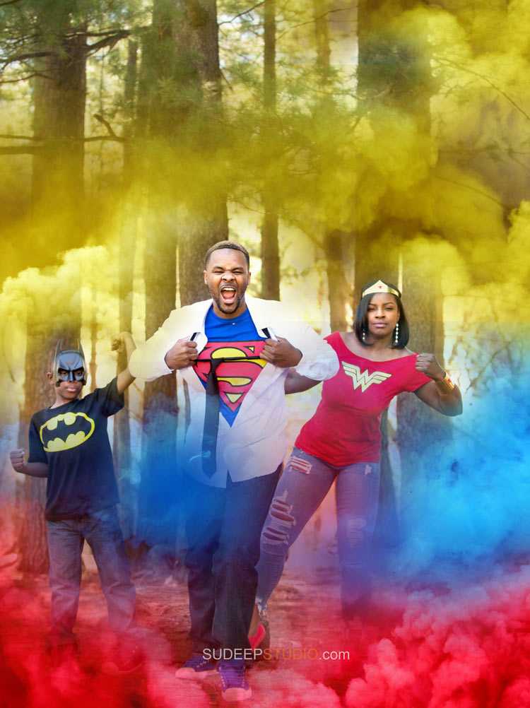 Super Hero Smoke Bomb Photography Portraits - Ann Arbor Photographer Sudeep Studio.com