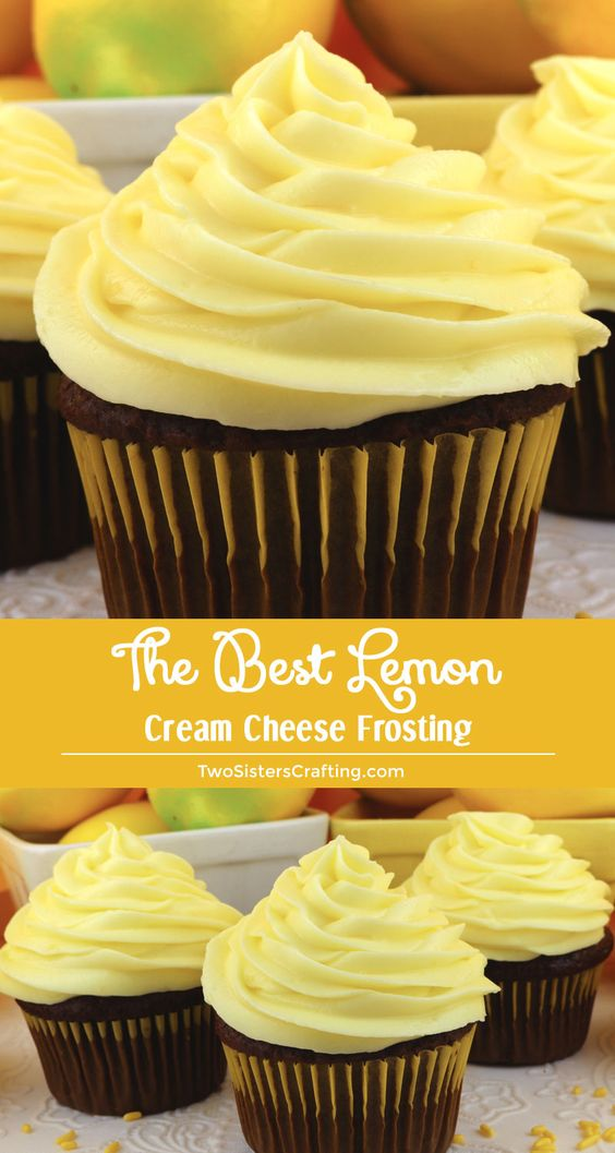 The Best Lemon Cream Cheese Frosting is tart and creamy and chock full of yummy Cream Cheese flavor - a great lemony twist on a classic frosting recipe. This Lemon Frosting is both delicious and easy to make. Pin this great Frosting idea for later and follow us for more great Frosting Recipes! #CreamCheeseFrosting #BestFrosting #BestCreamCheeseFrosting #Buttercream #CreamCheese #Lemon #Frosting #TwoSistersCrafting