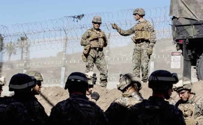 Guardias, límites, militares