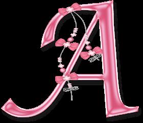 Abecedario Rosa con Lazos.  Pink Alphabets with Bows.