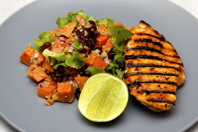 Grilled Chicken Breast and Sweet-Potato-Quinoa Salad