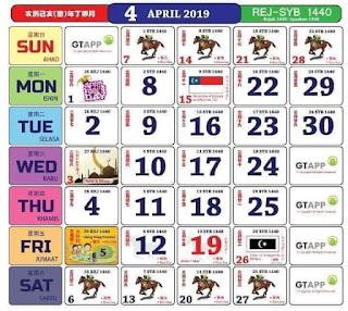 Kalendar April 2019