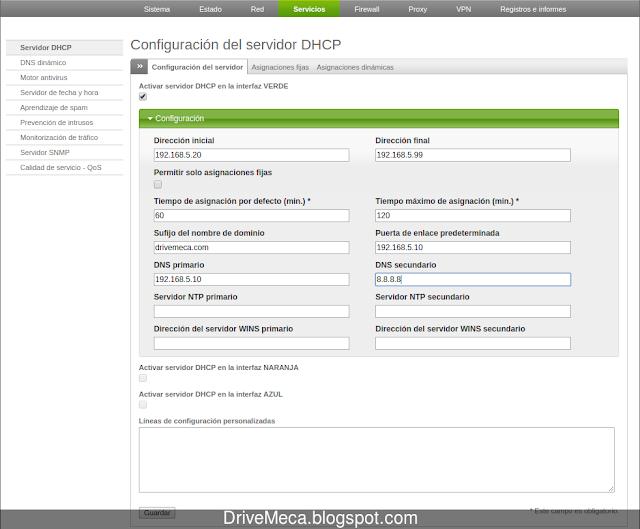 Configuramos los parametros de Endian Firewall DHCP server