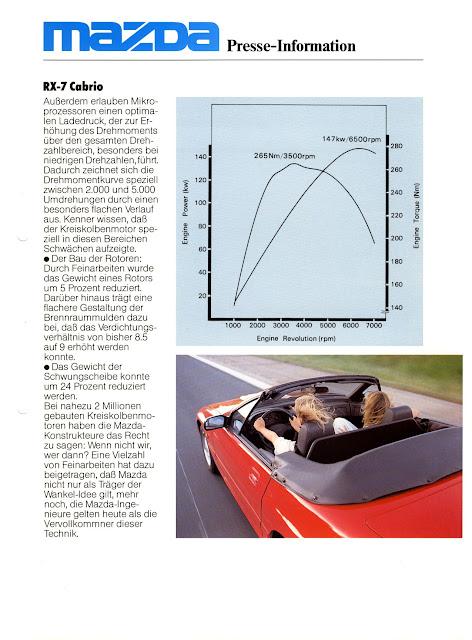 Mazda RX-7 FC, broszura, przebieg mocy i momentu, wykres, dyno, charakterystyka