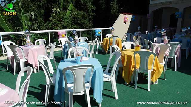 Decoração infantil - Aurora - A Bela Adormecida - Toalhas e enfeites para as mesa dos convidados